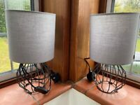 Two Matching Bedside Lights with LED Edison Bulbs