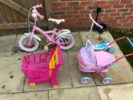 Girls Bike, Scooter, pram and trolly