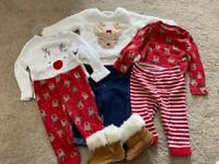 Baby girls 3-6 month Christmas clothes bundle
