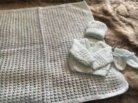 Hand knitted cardigan and blanket set new born