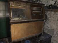 Antique/vintage record player + radio