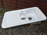Kitchen sink and mixer tap (mixer tap not pictured). White double sink. Good condition.