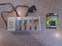 """BATTERY CHARGER and BRAND NEW 4 PACK AAA """"LLOYTRON"""" RECHARGEABLE BATTERIES for LANDLINE PHONE"""