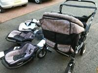 Twin pram with covers,car seats,moses baskets