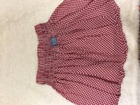 Superdry red and white checked skirt, size medium