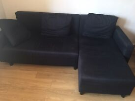 LUGNVIK black three seater sofa bed with chaise longue