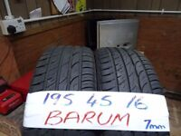 matching pair of 195 45 16 barums 7mm tread £50 pair sup & fittd(LOADS MORE AV 7-DAYS)