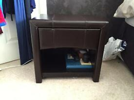 Faux leather side table