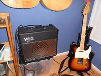 fender telecaster.mint condition, with new strings ,vox 30watt amp,and guitar stand