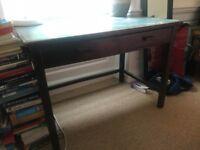 Victorian Dark Oak Desk With Green Leather Top