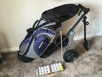 Golf Trolley, bag and balls