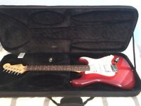 Electric Guitar - Squier by Fender Deluxe Stratocaster HSH, Crimson Transparent - Locking Tuners
