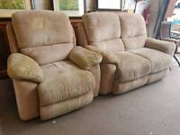 Light beige fabric electric reclining sofa and chair suite