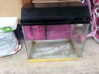 24 inch Fish Tank / Aquarium with Hood...... tank has crack in bottom but can be fixed...bargain