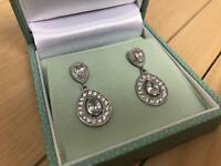 Andrew Prince Double Pear Cluster Drop Earrings - Brand New
