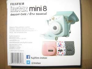 Fuji Instax Mini 8 Fitted Groovy Case. Camera Bag with Strap. Fujifilm. Two Piece Design. Blue. NEW