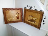 Pair of wooden wall hanging