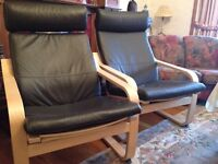 IKEA Poang Armchair, brown leather x2