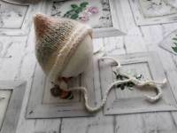 Knitted newborn baby girl pixie bonnet, baby photography prop