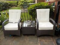 Brown Whicker 3 piece Garden Furniture with Cream cushions, Very good condition, With Cover