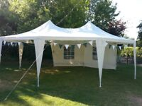 Pretty festival gazebo marquee available to rent (6.8m x 5m)