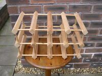 A wooden wine rack.
