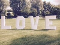 Love Sign for Events and Weddings. 4ft High by 3ft wide per letter.