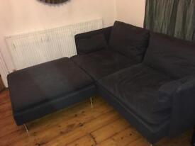 IKEA SODERHAMN 3-SEAT SOFA W/ FOOTSTOOL