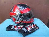 Motorcycle scooter helmet and gloves