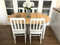 Pine table and 4 chairs free delivery Ldn shabby chic extendable
