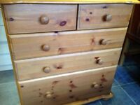 PINE 3 PLUS 2 CHEST OF DRAWERS BOTTOM DRAWER IS A DEEP ONE VGC