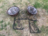 Hanging Baskets and Handmade Iron Garden Brackets
