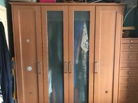 4 door wardrobe with interiors and 2 matching chests of drawers. 2year old in spare room