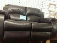 Stunning Black Leather 2 Seater Double Recliner
