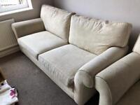 Cream Fabric 3 Seater Sofa & 2 Seater Sofa