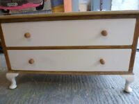 Shabby Chic Wood Chest with 2 Drawers