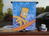 BART SIMPSON PORTABLE CAR WINDOW SUNBLIND in PERFECT CONDITION