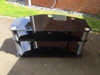 Large black glass tv stand