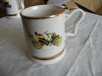 ½pt ceramic Prince William Pottery vintage car tankard with gilt banding