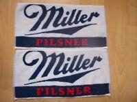 Miller Pilsner toweling bar towels. Unused