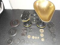 Antique kitchen weighing scales plus weights