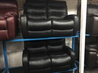 New/Ex Display Rosa Black Leather Electric LazyBoy 2 + 2 Seater Recliner Sofas (USB ports)