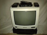 "Grundig white 14"" TV , Grundig VHS recorder and Freeview Tuner"