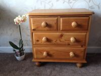 "Chest of Drawers ""very small size"" 61 cm height, solid pine dove tail jointed all in clean VGC"