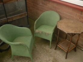Lloyd loom chairs and table,