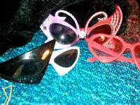 Vintage trio set of funky sun glasses