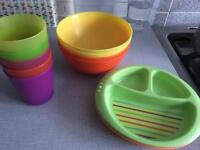 Free kids plastic bowls, cups and plates