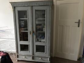 Vintage shabby chic French Armoire with key
