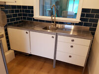 Ikea UDDEN double work table, stainless steel freestanding kitchen unit