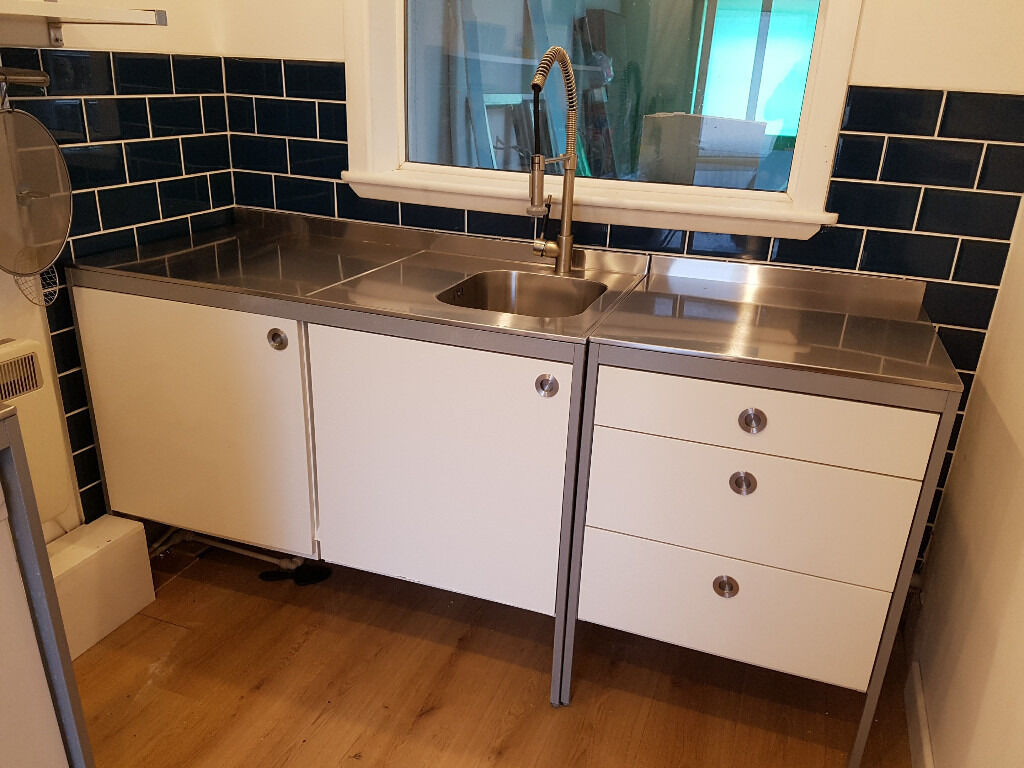 Ikea Udden Double Work Table Stainless Steel Freestanding